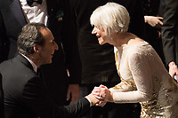 Helen Mirren greets Alexandre Desplat backstage during the live ABC Telecast of The 90th Oscars&reg; at the Dolby&reg; Theatre in Hollywood, CA on Sunday, March 4, 2018.<br /> *Editorial Use Only*<br /> CAP/PLF/AMPAS<br /> Supplied by Capital Pictures