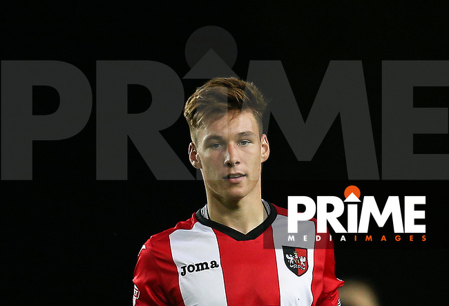 Kyle Egan of Exeter City during the The Checkatrade Trophy match between Oxford United and Exeter City at the Kassam Stadium, Oxford, England on 30 August 2016. Photo by Andy Rowland / PRiME Media Images.