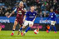 9th March 2020; King Power Stadium, Leicester, Midlands, England; English Premier League Football, Leicester City versus Aston Villa; James Maddison of Leicester City looks to pass the ball under pressure from Douglas Luiz of Villa