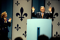 FILE PHOTO - Jacques Parizeau et sa femme avant<br /> La defaite du camp du OUI lors du referendum, le 30 Octobre 1995<br /> <br /> PHOTO : Pierre Roussel<br />  - Agence Quebec Presse