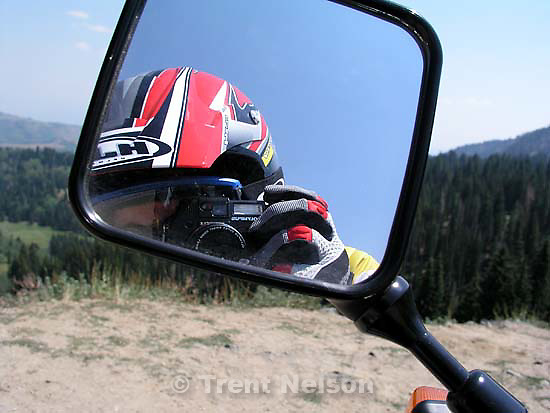 trent nelson in mirror with motorcycle<br />
