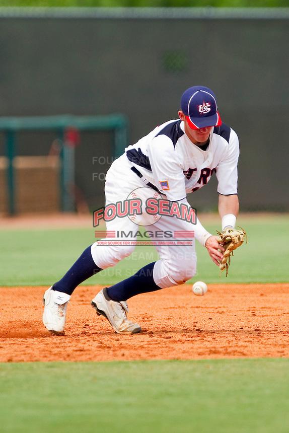 Third baseman Max Dutto #13 of STARS has trouble with a ground ball against RBI at the 2011 Tournament of Stars at the USA Baseball National Training Center on June 26, 2011 in Cary, North Carolina. (Brian Westerholt/Four Seam Images)