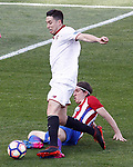 Atletico de Madrid's Filipe Luis (r) and Sevilla FC's Samir Nasri during La Liga match. March 19,2017. (ALTERPHOTOS/Acero)