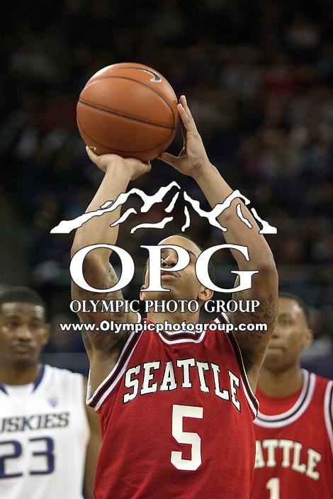 Jan 10, 2012:  Seattle University's #5 Cervante Burrell against Washington.  Washington defeated Seattle University  91-83 at Alaska Airlines Arena Seattle, Washington..