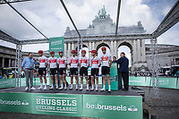 TeamTrek Segafredo pre race team presentation with Brussels Jubelpark Triumphal Arch in the background. <br /> <br /> 99th Brussels Cycling Classic 2019<br /> One Day Race: Brussels > Brussels 189.4km<br /> <br /> ©kramon