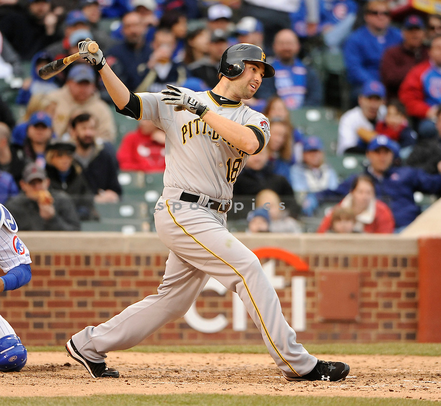 NEIL WALKER, of the Pittsburgh Pirates, in actions during the Pirates game against the Chicago Cubs at Wrigley FIeld on April 3, 2011.  The Pirates won the game beating the Cubs 5-4.