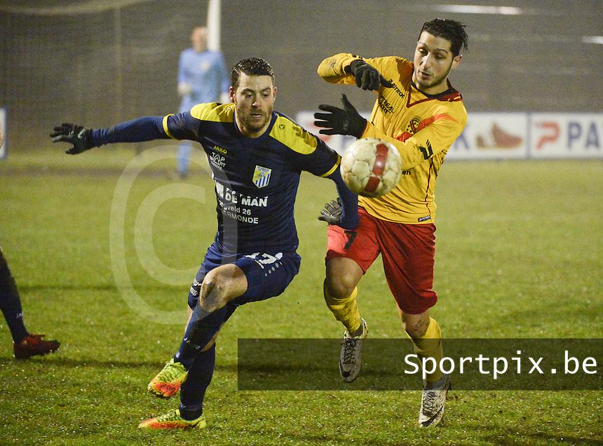 Eendracht Wervik - FC Lebbeke :<br /> stevig duel tussen Monssef Znagui (R) en Mattis Persoons (L)<br /> Foto VDB / Bart Vandenbroucke