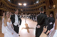 0802020311c Dress rehearsal of the 13th Budapest Opera Ball held at Opera House involving 50 couples of debutantes performing the opening waltz. Budapest, Hungary. Saturday, 02. February 2008. ATTILA VOLGYI