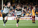 Ash Taylor celebrates with David Goodwillie after scoring the winning goal for Aberdeen
