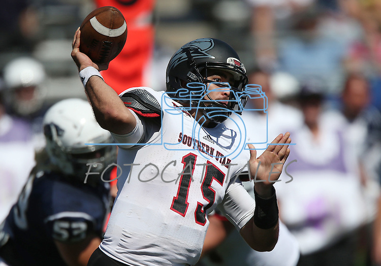 Southern Utah's Aaron Cantu (15) throws a pass against Nevada during the second half of an NCAA college football game on Saturday, Aug. 30, 2014 in Reno, Nev. Nevada defeated Southern Utah 28-19. (AP Photo/Cathleen Allison)