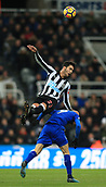 9th December 2017, St James Park, Newcastle upon Tyne, England; EPL Premier League football, Newcastle United versus Leicester City; Mikel Merino of newcastle United beats Jamie Vardy of Leicester City to a header
