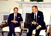 United States President George H.W. Bush, right, meets President Václav Havel of Czechoslovakia, left, in the Oval Office of the White House in Washington, DC on October 22, 1991.  Havel is visiting Washington for a State Visit.<br />