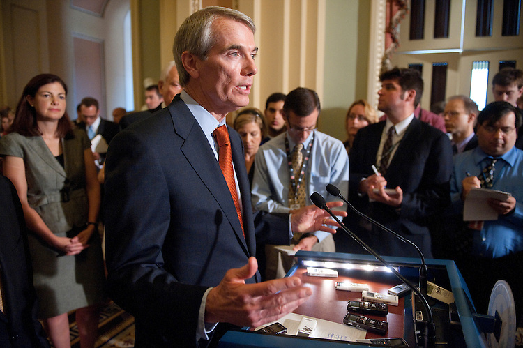 UNITED STATES - JUNE 29: Sen. Rob Portman, R-Ohio, speaks during a Senate Republican news conference calling for a balanced budget amendment on Wednesday, June 29, 2011. (Photo By Bill Clark/Roll Call)