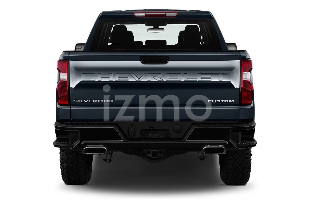 Straight rear view of a 2020 Chevrolet Silverado 1500 Custom Trail Boss 4 Door Pick Up stock images
