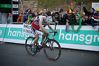 race winner Kevin Pauwels (BEL/Sunweb-Napoleon Games) crossing the finish line as the first ever Francorchamps elite CX winner<br /> <br /> Superprestige Francorchamps 2014