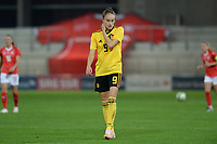 20181009 – BIEL BIENNE , SWITZERLAND : Belgian Tessa Wullaert pictured looking dejected and disappointed during the female soccer game between Switzerland and the Belgian Red Flames , the second leg in the semi finals play offs for qualification for the World Championship in France 2019 ; the first leg ended in equality 2-2 ;  Tuesday 9 th october 2018 at The Tissot Arena  in BIEL BIENNE , Switzerland . PHOTO SPORTPIX.BE | DAVID CATRY