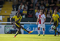 New signing Abdoulaye Doucoure fires a shot at goal during the Pre Season Friendly match between Woking and Watford at the Kingfield Stadium, Woking, England on 10 July 2016. Photo by Andy Rowland.