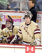 Patrick Wey (BC - 6), Chris Venti (BC - 30), Bert Lenz (BC - Trainer) - The Boston College Eagles defeated the visiting University of New Hampshire Wildcats 4-3 on Friday, January 27, 2012, in the first game of a back-to-back home and home at Kelley Rink/Conte Forum in Chestnut Hill, Massachusetts.
