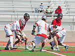 Palos Verdes, CA 03/26/16 - Jarrett Jones (Palos Verdes #6), Colin Fitt (Palos Verdes #77) and Tucker Frazier (Palos Verdes #18) in action during the CIF Boys Lacrosse game between San Clemente Tritons and the Palos Verdes Seakings at Palos Verdes High School.  Palos Verdes defeated San Clemente 11-6