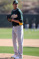 Grant Balfour #50 of the Oakland Athletics participates in spring training workouts at the Athletics complex on February 16, 2011  in Phoenix, Arizona. .Photo by:  Bill Mitchell/Four Seam Images.