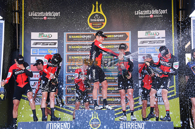 BMC Racing Team spray the bubbly on the podium after winning the 1st stage of the race of the two seas, 52nd Tirreno-Adriatico by NamedSport a 22.7km Team Time Trial around Lido di Camaiore, Italy. 8th March 2017.<br /> Picture: La Presse/Gian Mattia D'Alberto | Cyclefile<br /> <br /> <br /> All photos usage must carry mandatory copyright credit (&copy; Cyclefile | La Presse)