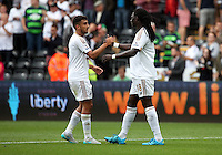 Pictured L-R: Neil Taylor and Bafetimbi Gomis of Swansea Saturday 15 August 2015<br />