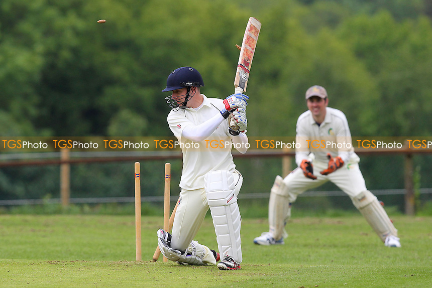 L Dyerson of Havering is bowled out by N Smith - Havering-atte-Bower CC vs Bentley CC - Mid-Essex Cricket League - 01/06/13 - MANDATORY CREDIT: Gavin Ellis/TGSPHOTO - Self billing applies where appropriate - 0845 094 6026 - contact@tgsphoto.co.uk - NO UNPAID USE