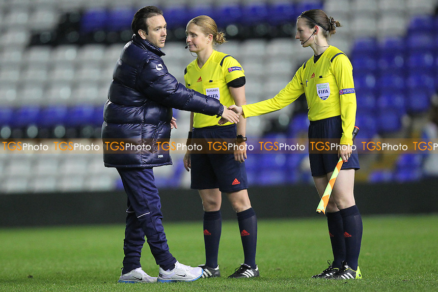 Birmingham City Ladies Coach David Parker thanks the match officials - Birmingham City Ladies vs Arsenal Ladies - UEFA Womens Champions League Quarter-Final 1st Leg Football at St Andrews, Birmingham - 24/03/14 - MANDATORY CREDIT: Gavin Ellis/TGSPHOTO - Self billing applies where appropriate - 0845 094 6026 - contact@tgsphoto.co.uk - NO UNPAID USE