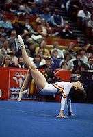Camelia Voinea of Romania performs on floor exercise at 1985 American Cup in women's artistic gymnastics at Indianapolis, Indiana in early February, 1985.  Photo by Tom Theobald.
