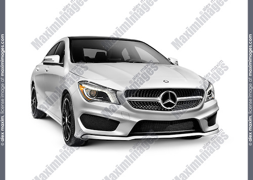 Silver 2015 Mercedes-Benz SL550 2LOOK Edition luxury car isolated on white background with clipping path