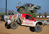 Apr 16, 2011; Surprise, AZ USA; LOORRS driver Jeremy McGrath (2) and Rodrigo Ampudia (36) during round 3 at Speedworld Off Road Park. Mandatory Credit: Mark J. Rebilas-