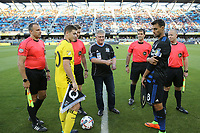 San Jose, CA - Saturday August 05, 2017: Wil Trapp, Chris Wondolowski, Alan Kelly, Michael Kampmeinert, Brian Dunn, Alex Chilowicz, coin toss prior to a Major League Soccer (MLS) match between the San Jose Earthquakes and the Columbus Crew at Avaya Stadium.