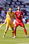 Aziz Behich of Australia (L) fights for the ball with Shadi Shaban of Palestine (R) during the AFC Asian Cup UAE 2019 Group B match between Palestine (PLE) and Australia (AUS) at Rashid Stadium on 11 January 2019 in Dubai, United Arab Emirates. Photo by Marcio Rodrigo Machado / Power Sport Images