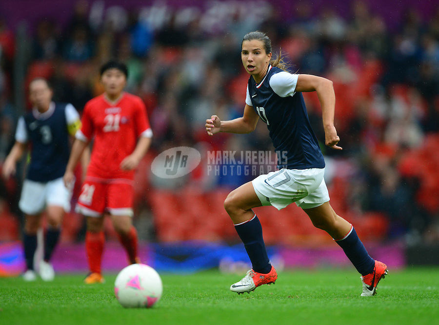 Jul 31, 2012; Manchester , United Kingdom; USA midfielder (17) Tobin Heath against North Korea during the women's preliminary round in the London 2012 Olympic Games at Old Trafford. USA defeated North Korea 1-0. Mandatory Credit: Mark J. Rebilas-USA TODAY Sports