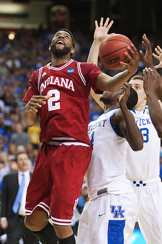 Indiana Hoosiers forward Christian Watford shoots. Kentucky faced Indiana during the Sweet 16 round of the 2012 NCAA Tournament at the Georgia Dome in Atlanta,  March 23, 2012. Photo by Derek Poore