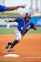 Biloxi Shuckers catcher Adam Weisenburger (8) rounds third during the first game of a double header against the Pensacola Blue Wahoos on April 26, 2015 at Pensacola Bayfront Stadium in Pensacola, Florida.  Biloxi defeated Pensacola 2-1.  (Mike Janes/Four Seam Images)