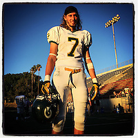 SANTA ANA, CA - NOVEMBER 8: Instagram portrait of Christopher Lachance of Grossmont College after a game against Santa Ana College at Eddie West Field in Santa Ana, California on November 8, 2014. Photo by Brad Mangin