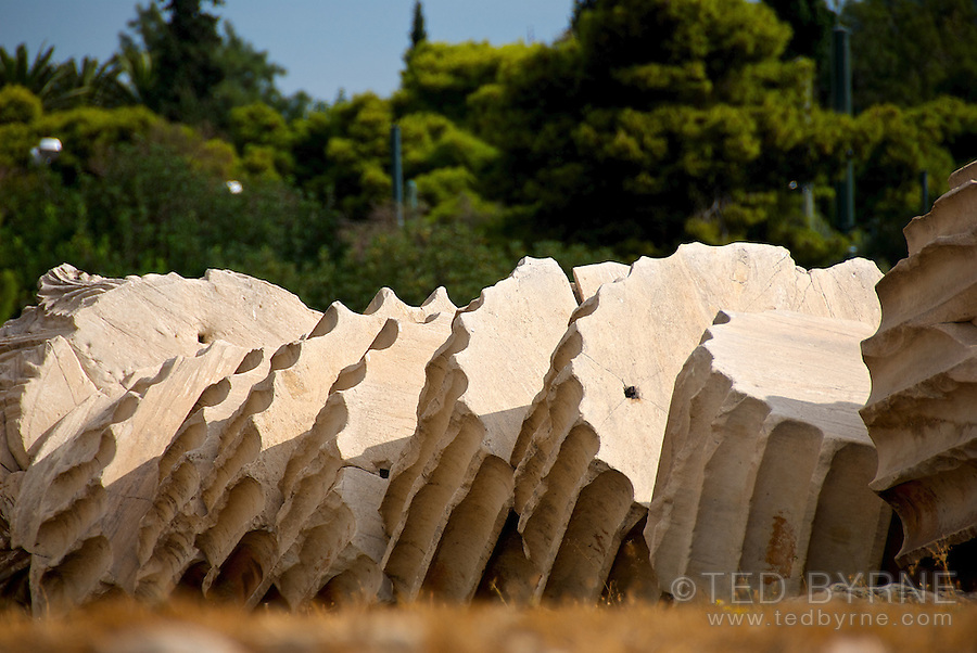 Isolated sections of a fallen column at the Temple of Zeus in Athens Greece