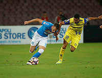 Piotr Zielinski  and Massimo Gobbi <br />  during the  italian serie a soccer match,between SSC Napoli and AC Chievo       at  the San  Paolo   stadium in Naples  Italy , September 25, 2016