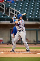 Tennessee Smokies catcher Ian Rice (5) at bat during a game against the Birmingham Barons on August 16, 2018 at Regions FIeld in Birmingham, Alabama.  Tennessee defeated Birmingham 11-1.  (Mike Janes/Four Seam Images)