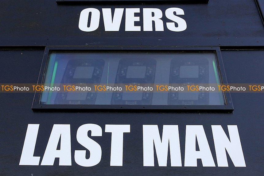 Details view of the scoreboard ahead of Worcestershire CCC vs Essex CCC, Specsavers County Championship Division 2 Cricket at New Road on 3rd May 2016