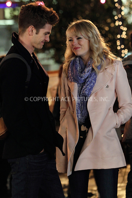 WWW.ACEPIXS.COM....April 16 2013, New York City....Actors Andrew Garfield and Emma Stone on the set of the new movie 'The Amazing Spderman 2' on April 16 2013 in New York City......By Line: Nancy Rivera/ACE Pictures......ACE Pictures, Inc...tel: 646 769 0430..Email: info@acepixs.com..www.acepixs.com