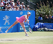 June 15th 2017, Nottingham, England; WTA Aegon Nottingham Open Tennis Tournament day 6;  Alison Riske of USA serves in the second round match against Magdalena Rybarikova of The Slovak Republic