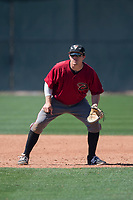Arizona Diamondbacks first baseman Austin Byler (47) during a Spring Training game against Meiji University at Salt River Fields at Talking Stick on March 12, 2018 in Scottsdale, Arizona. (Zachary Lucy/Four Seam Images)