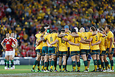 The Australian Wallabies huddle up before start of the 1st Test against the British and Irish Lions during Match 4 of the DHL Australian 2013 Lions Tour at Allianz Stadium, Sydney on 15 June, 2013 in Newcastle, Australia. (Photo by Paul Barkley/LookPro)