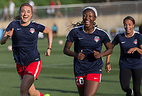 Boyds, MD. - Saturday, June 24 2017:  Kristie Mewis, Cheyna Williams during a regular season National Women's Soccer League (NWSL) match between the Washington Spirit and the Portland Thorns FC at Maureen Hendricks Field, Maryland SoccerPlex.<br />  The Washington Spirit defeated the Portland Thorns FC 1-0.