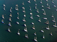aerial photograph boats anchored San Diego bay, California