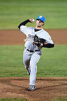 Akron RubberDucks pitcher Tyler Sturdevant (48) delivers a pitch during a game against the Erie SeaWolves on May 17, 2014 at Jerry Uht Park in Erie, Pennsylvania.  Erie defeated Akron 2-1.  (Mike Janes/Four Seam Images)