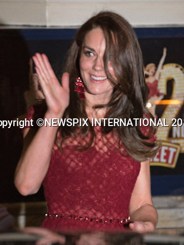 04.04.2017; London, UK: DUCHESS OF CAMBRIDGE <br />attends the Opening Night of the musical&nbsp;42nd Street in aid of East Anglia's Children's Hospice.<br />Mandatory Photo Credit: &copy;Francis Dias/NEWSPIX INTERNATIONAL<br /><br />IMMEDIATE CONFIRMATION OF USAGE REQUIRED:<br />Newspix International, 31 Chinnery Hill, Bishop's Stortford, ENGLAND CM23 3PS<br />Tel:+441279 324672  ; Fax: +441279656877<br />Mobile:  07775681153<br />e-mail: info@newspixinternational.co.uk<br />Usage Implies Acceptance of OUr Terms &amp; Conditions<br />Please refer to usage terms. All Fees Payable To Newspix International