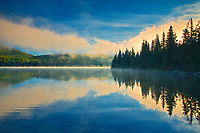 Pyramid Lake at sunrise, Jasper National Park, Alberta, Canada